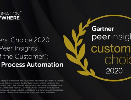 "Automation Anywhere被評為""2020年客戶選擇: RPA類別"""